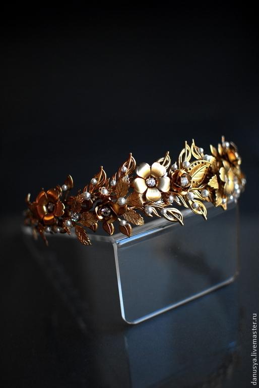 """Диадемы, обручи ручной работы. Ярмарка Мастеров - ручная работа. Купить Диадема """"Офелия"""". Handmade. Золотой, корона для невесты"""