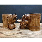 Посуда handmade. Livemaster - original item Gift Set 2 Beer Wooden Carved Mugs Scrum. Handmade.