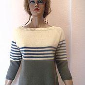 Одежда ручной работы. Ярмарка Мастеров - ручная работа Пуловер вязаный с полосками. Handmade.