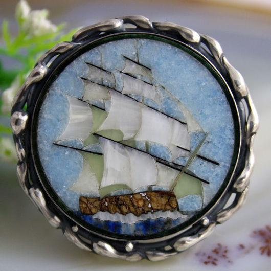 """Кольца ручной работы. Ярмарка Мастеров - ручная работа. Купить Кольцо """"Бригантина"""" - флорентийская мозаика, серебро. Handmade."""