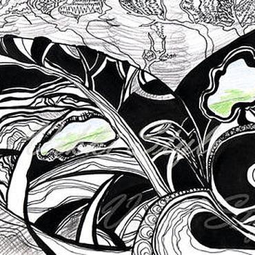"""Картины и панно ручной работы. Ярмарка Мастеров - ручная работа Графика """"Яблоневый сад"""". Handmade."""