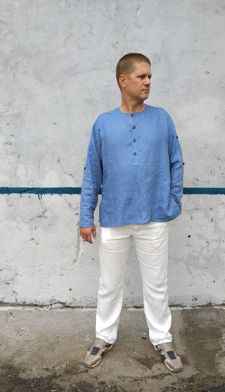 Мужская рубашка из льна без воротника с длинным рукавом, Костюмы, Новороссийск,  Фото №1