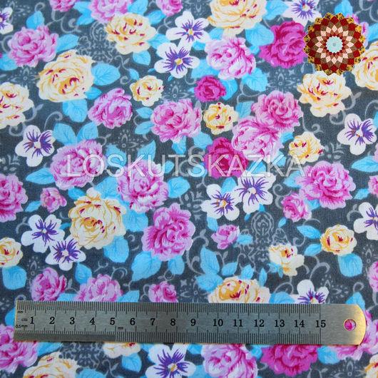 Ткань хлопок `Чайные розы серо-голубой`. Код товара: DFS-00019