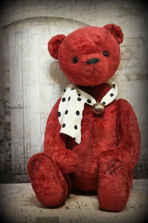 Мишки Тедди ручной работы. Ярмарка Мастеров - ручная работа. Купить Мишка Тедди Веня 34см. Handmade. Бордовый