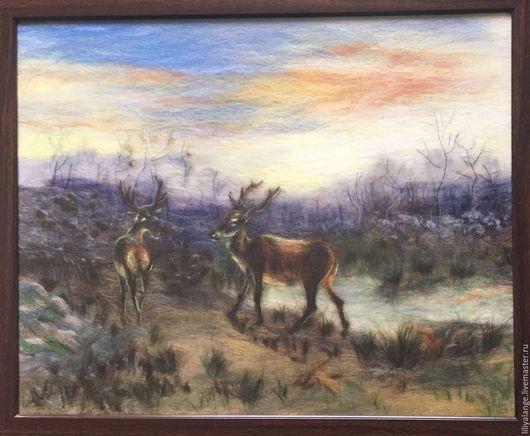 """Пейзаж ручной работы. Ярмарка Мастеров - ручная работа. Купить картина из шерсти """" Олень в лесу Фонтобело"""". Handmade. Комбинированный"""