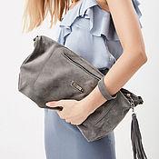 Сумки и аксессуары handmade. Livemaster - original item Grey suede Bag with shoulder strap - Crossbody. Handmade.