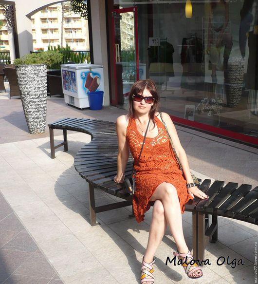 Платья ручной работы. Ярмарка Мастеров - ручная работа. Купить Вязаное летнее  платье.. Handmade. Рыжий, наборное кружево