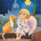 Открытки handmade. Livemaster - original item Postcard angel and Red cat. Handmade.