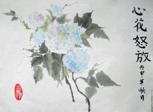 Картины цветов ручной работы. Ярмарка Мастеров - ручная работа. Купить Гортензия (китайская живопись). Handmade. Китайская живопись, гортензия