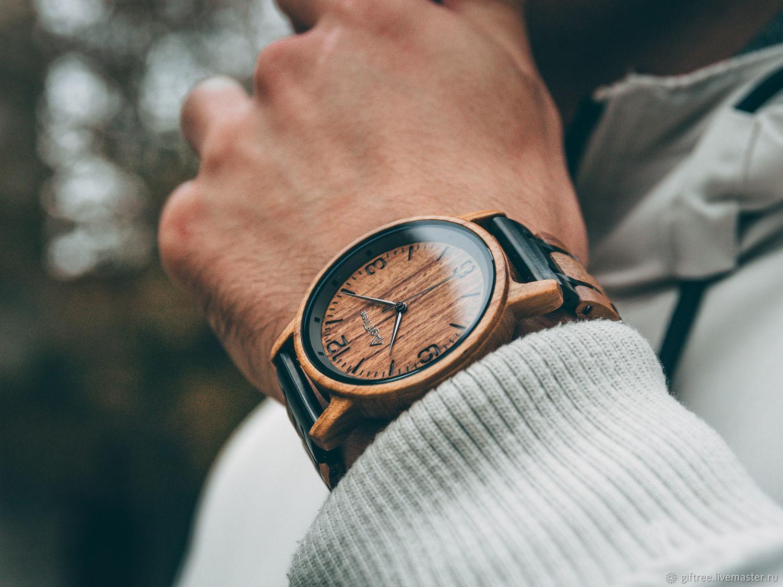 Наручные часы из дерева и стали мужские с гравировкой 43 мм, Часы наручные, Саратов,  Фото №1