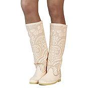 Обувь ручной работы handmade. Livemaster - original item Summer preparirovanie boots pink PIZZO tim... . Handmade.