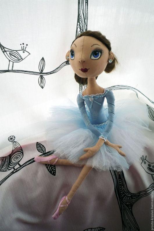 Человечки ручной работы. Ярмарка Мастеров - ручная работа. Купить Балеринка. Handmade. Голубой, кукла для девочки, хлопок американский