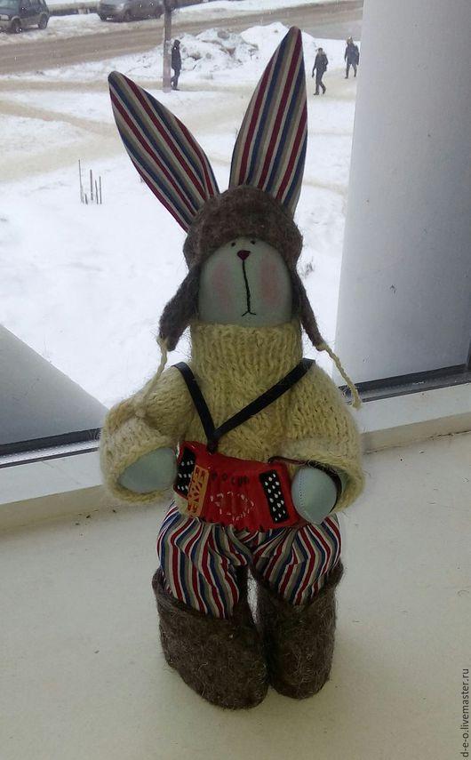 Куклы Тильды ручной работы. Ярмарка Мастеров - ручная работа. Купить Заяц с гармошкой, а может с баяном:). Handmade. Комбинированный