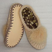 Обувь ручной работы. Ярмарка Мастеров - ручная работа Тапочки-шлепки, светло-бежевый, полушерсть. Handmade.