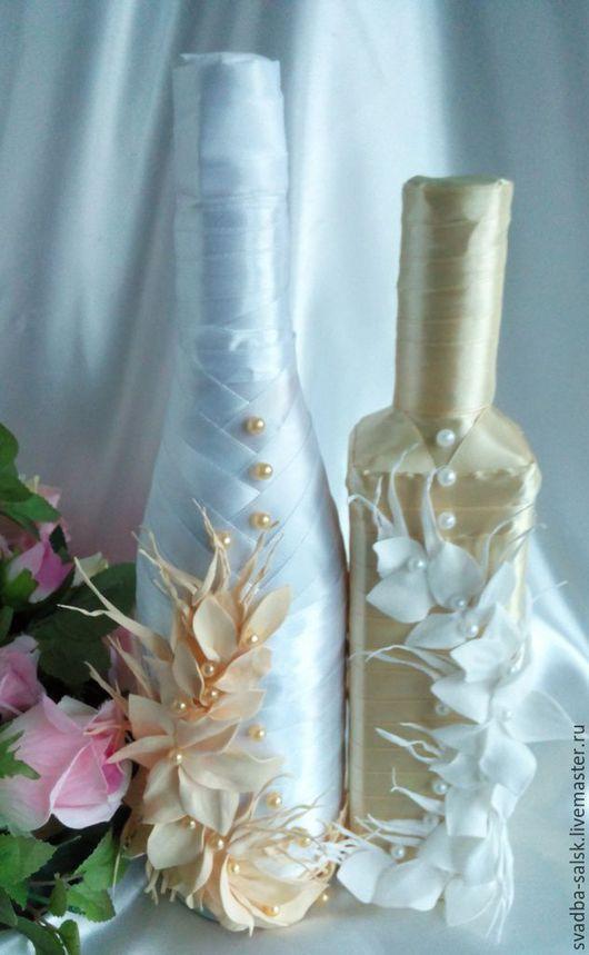 Свадебные аксессуары ручной работы. Ярмарка Мастеров - ручная работа. Купить Оформление свадебных бутылок. Handmade. Разноцветный, бутоньерка для жениха