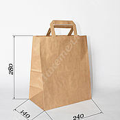 Пакеты ручной работы. Ярмарка Мастеров - ручная работа Крафт пакет 240х140х280мм, с плоскими ручками. Handmade.