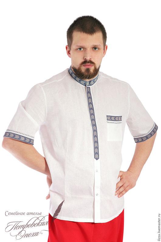 Для мужчин, ручной работы. Ярмарка Мастеров - ручная работа. Купить летняя рубашка в русском стиле 2. Handmade. Белый