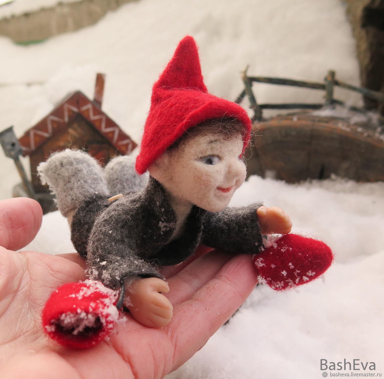 Гномик Гоша, миниатюра из шерсти, Войлочная игрушка, Москва,  Фото №1