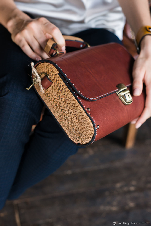 Womens brown leather bag Big Brown Bag, wooden bag, Classic Bag, St. Petersburg,  Фото №1
