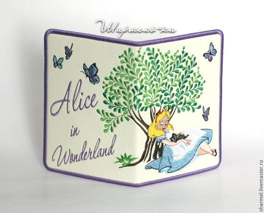 Вышитая обложка на паспорт `Alice in Wonderland. Алиса в стране чудес`.  Полезные вещицы от Шармель-ки.