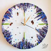 Для дома и интерьера ручной работы. Ярмарка Мастеров - ручная работа Часы Пчелы и Лаванда цветное стекло фьюзинг. Handmade.