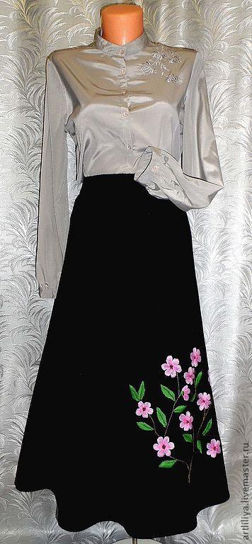 Юбки ручной работы. Ярмарка Мастеров - ручная работа. Купить юбка вязаная тёплая длинная с вышивкой  Цвет сакуры. Handmade.