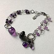 Украшения handmade. Livemaster - original item Bracelet made of amethyst and black spinel. Handmade.