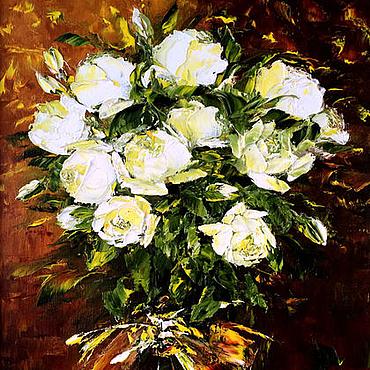 Картины и панно ручной работы. Ярмарка Мастеров - ручная работа Картина маслом Юбилейные розы. Handmade.