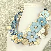 Украшения handmade. Livemaster - original item Light Denim Etude. Necklace, flowers made of genuine leather. Handmade.