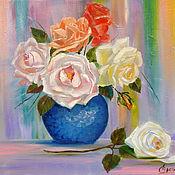 Картины и панно ручной работы. Ярмарка Мастеров - ручная работа Картина маслом. Розы в синей вазе.. Handmade.