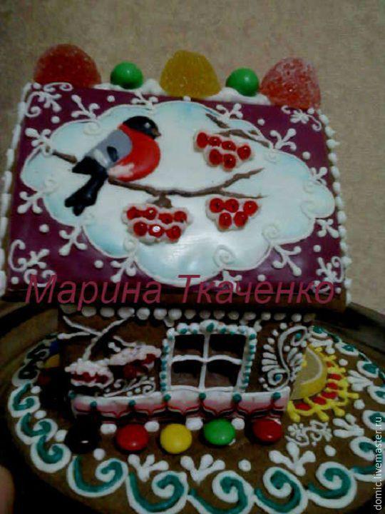 Новый год 2019 ручной работы. Ярмарка Мастеров - ручная работа. Купить Пряничный домик 'Снегирь'. Handmade. Подарок мужчине, снегири