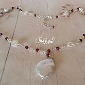 Украшения handmade. Livemaster - original item Rose garden with garnet and pearls, 925 silver. Handmade.