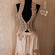 Одежда handmade. Livemaster - original item A knitted vest of cotton. with brooch and belt.. Handmade.