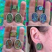 Украшения handmade. Livemaster - original item @ Etro style enamel Earrings and Ring. Handmade.
