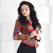 Одежда ручной работы. Ярмарка Мастеров - ручная работа Жакет с баской нарядный, красный жакет. Handmade.
