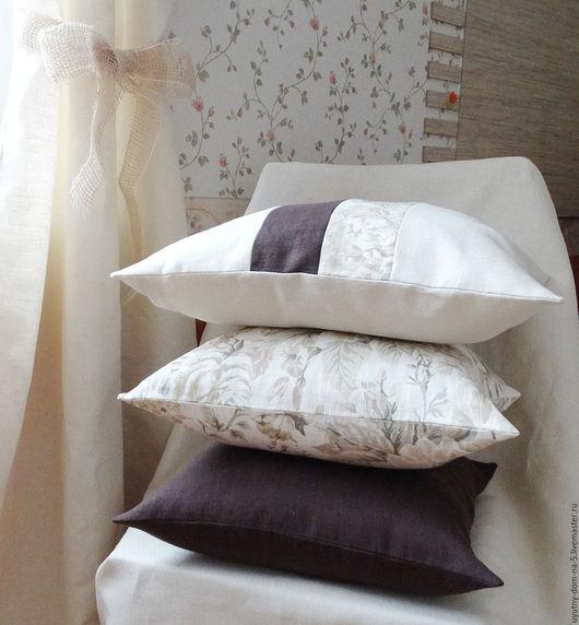 Текстиль, ковры ручной работы. Ярмарка Мастеров - ручная работа. Купить Комплект подушек из льна. Handmade. Бежевый, кантри