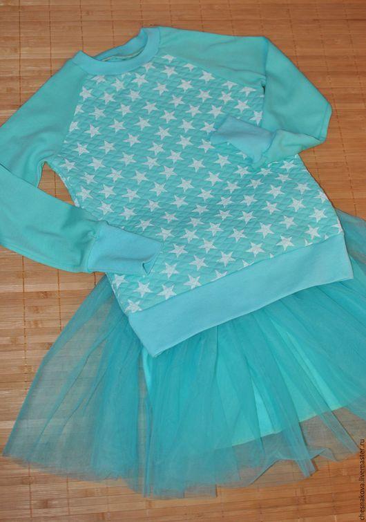 """Одежда для девочек, ручной работы. Ярмарка Мастеров - ручная работа. Купить Комплект для девочки """"Мятное кружево"""". Handmade. Бирюзовый, циан"""