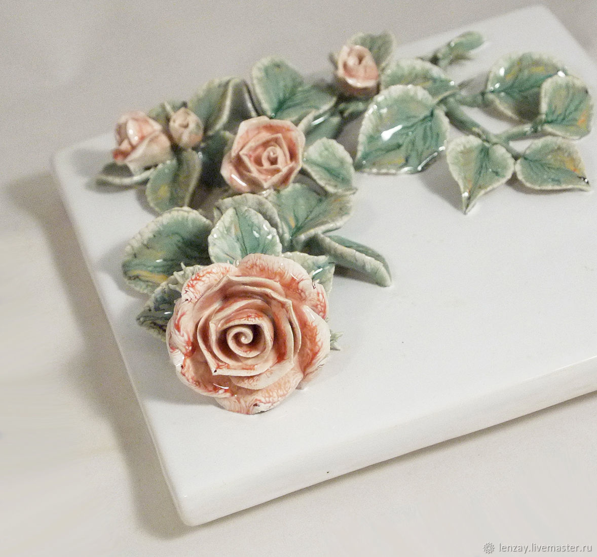 Ceramic tiles/panels `Climbing rose`. Ceramic floristry Elena Zaichenko.