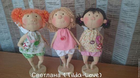 Куклы тыквоголовки ручной работы. Ярмарка Мастеров - ручная работа. Купить Три ангелочка. Handmade. Бежевый, сувениры и подарки, дочка