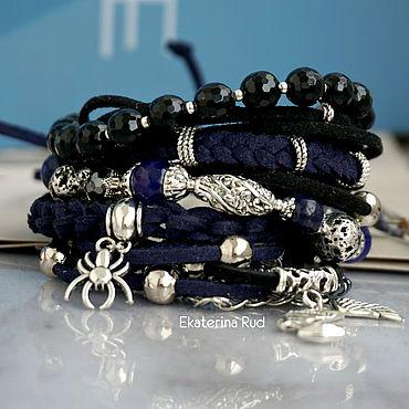 Decorations handmade. Livemaster - original item Boho-chic bracelet with black agate