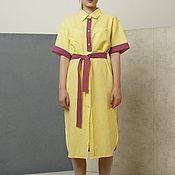 Одежда ручной работы. Ярмарка Мастеров - ручная работа Платье рубашка желтое и фуксия двухцветное летнее из льна и хлопка. Handmade.