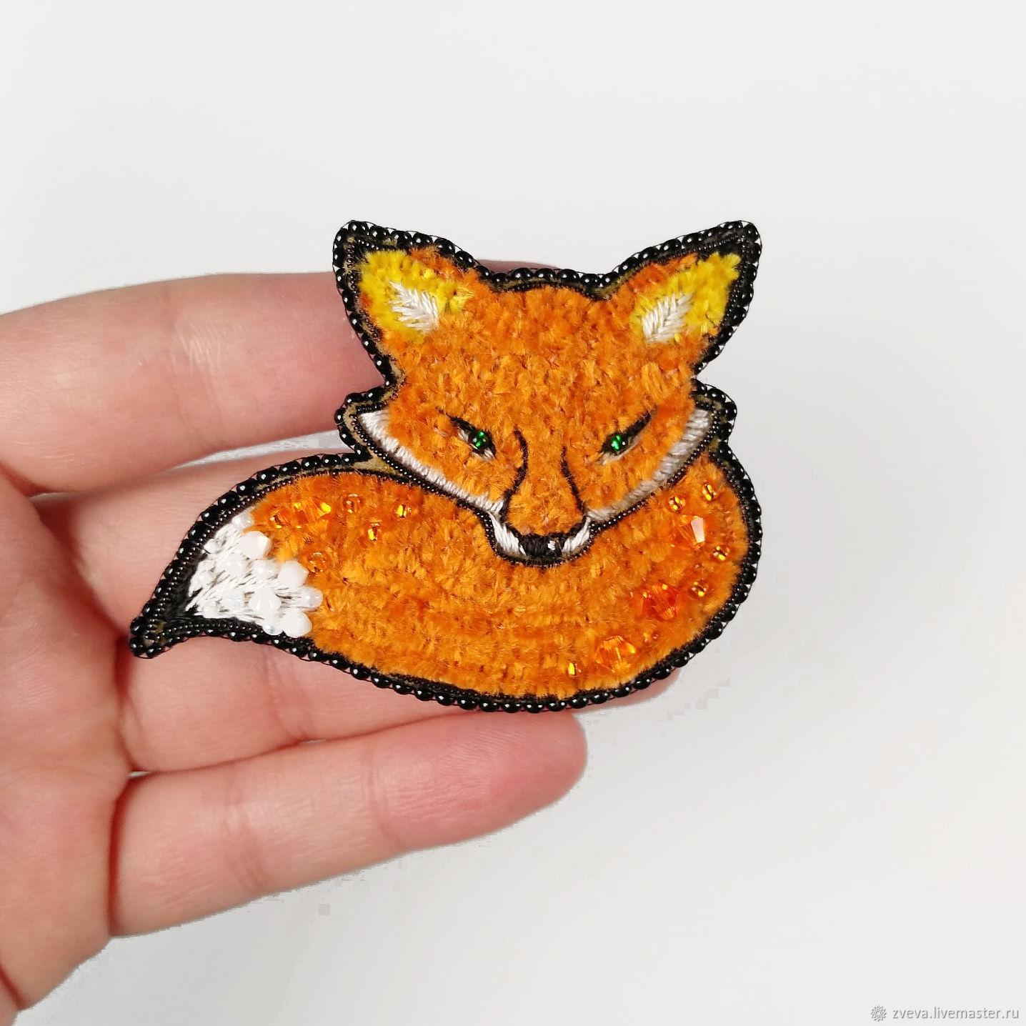 Red Fox brooch, embroidered Fox brooch, Brooches, Smolensk,  Фото №1