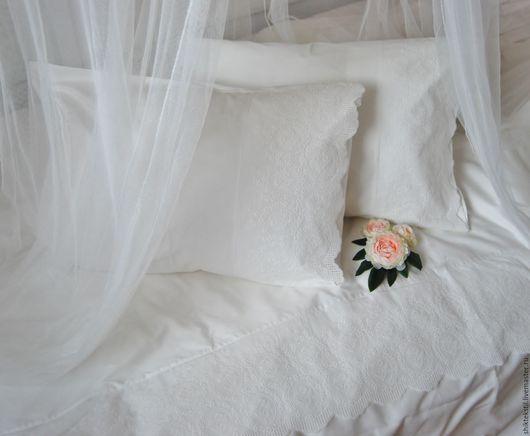 Текстиль, ковры ручной работы. Ярмарка Мастеров - ручная работа. Купить Постельное белье в стиле прованс. Цвет молочный. Handmade.