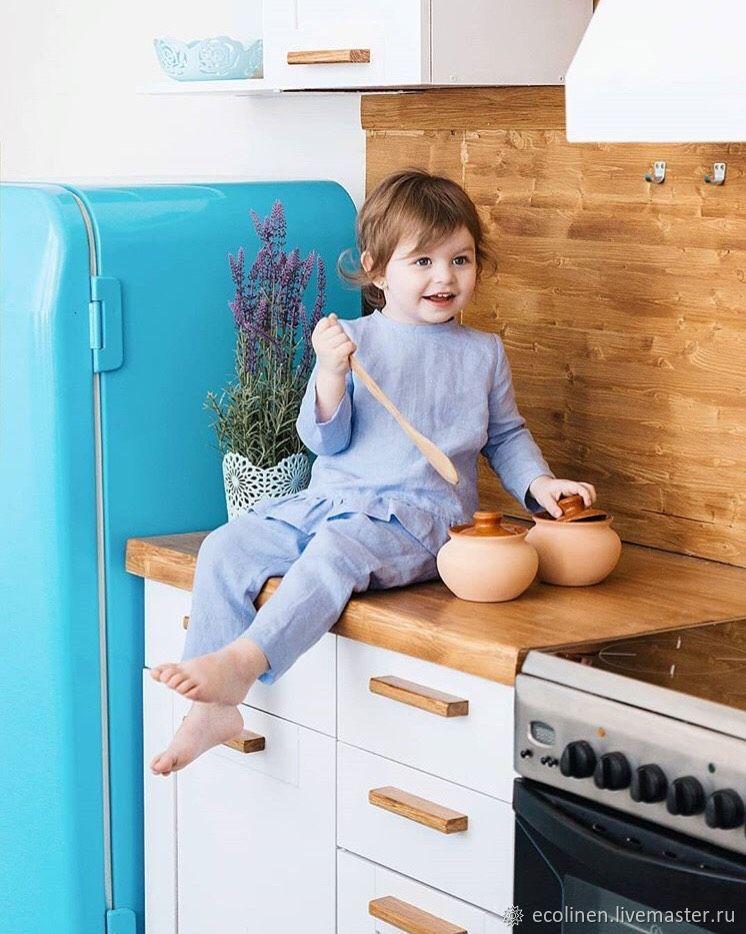 Children's Linen Pajamas. Linen pajamas. 100% linen. Softened, Childrens tunic, Minsk,  Фото №1