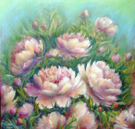 Картины цветов ручной работы. Ярмарка Мастеров - ручная работа. Купить Пионы (акрил,холст на двп) 40 на 40 см. Handmade.