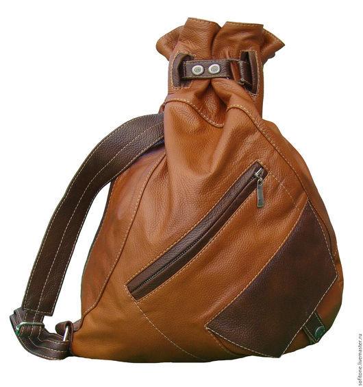 Рюкзаки ручной работы. Ярмарка Мастеров - ручная работа. Купить Рюкзак-мешок на одной лямке Рыжий с коричневым. Handmade.