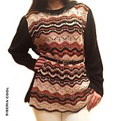 Одежда handmade. Livemaster - original item Sweater women`s Wave, brown, 100% wool and 100% cotton. Handmade.