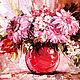 """Картины цветов ручной работы. Ярмарка Мастеров - ручная работа. Купить Картина  маслом. Вольные копии картин. """"Букет в красной вазе"""". Handmade."""