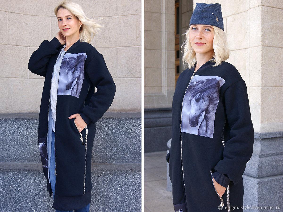 Женское пальто бомбер темно-синее, длинное весеннее пальто с лампасами, Пальто, Новосибирск,  Фото №1