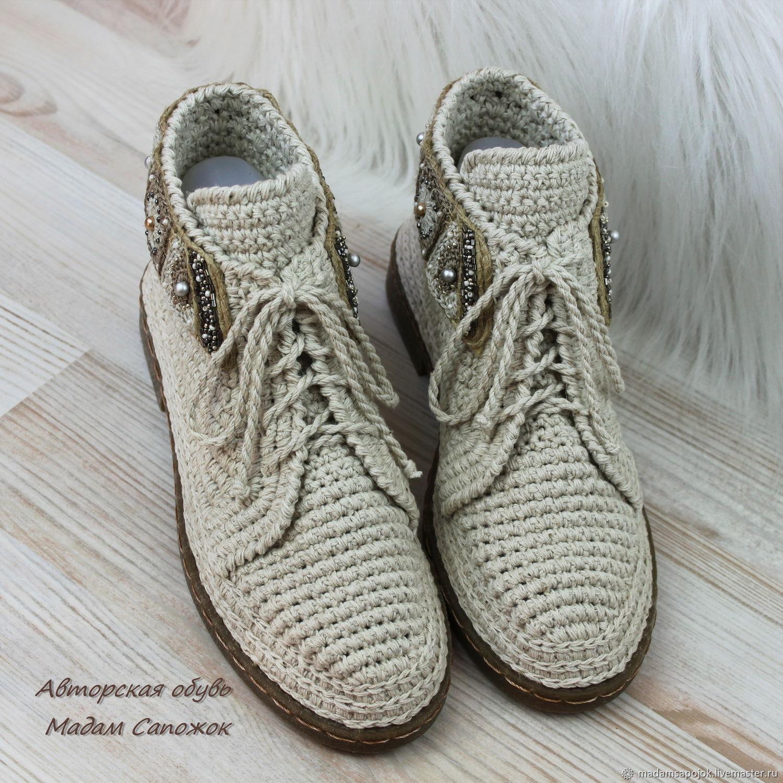 320b105eb4dd Заказать Ботинки льняные с вышивкой женские. Ксения Мадам Сапожок. Ярмарка  ...